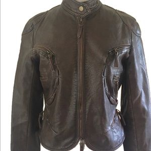 Max Studio brown vegan leather Moto jacket